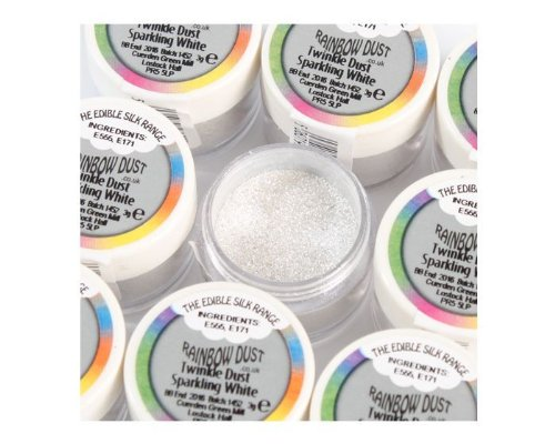 Rainbow Dust Edible Silk Range Twinkle Dust - Sparkling White 3g Puder