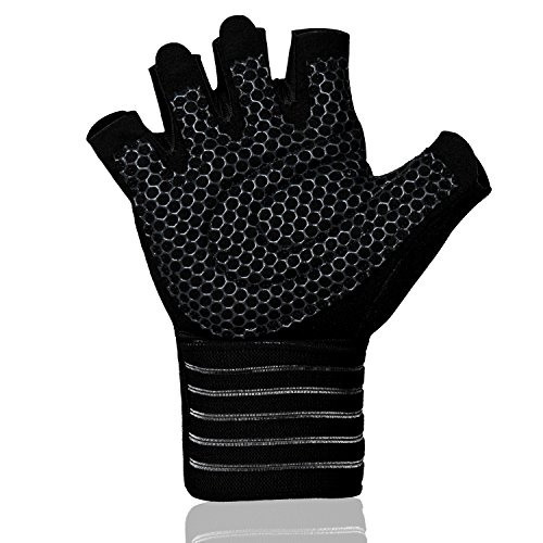 - ihuan Professional Wrist Workout Gloves, Full Palm Protection and Better Ventilation Design, Great for Weight Lifting, Training, Fitness, Exercise, Hanging, Pull ups. Suits Men & Women (M)