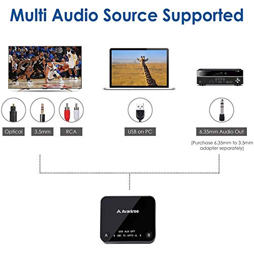 Avantree Audikast aptX Low Latency Bluetooth Audio Transmitter for TV PC (Optical Digital Toslink, 3.5mm AUX, RCA, PC USB) 100ft Long Range, Codec Display, Dual Link, No Delay