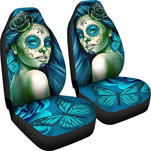 DealioHound Calavera (Day of The Dead/Dia De Los Muertos) Halloween Design #2 (Turquoise) Microfiber Car Seat Covers/Protectors - Universal Fit (Set of 2) ()