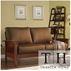 Tribecca Home Mission Style Oak and Rust Love Seat. This Beautiful Sofa Will Instantly Add a Touch of Character to Any Living Room, Office or Guest Room. Entertain Guests with This Beautiful Loveseat, Built with Solid Wood to Ensure Long Lasting Durability.