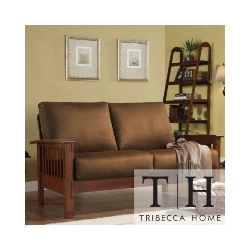 Tribecca Home Mission Style Oak and Rust Love Seat. This Beautiful Sofa Will Instantly Add a Touch of Character to Any Living Room, Office or Guest Room. Entertain Guests with This Beautiful Loveseat, Built with Solid Wood to Ensure Long Lasting Durabilit by Tribecca Home