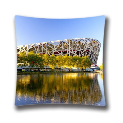 Best Gift idea, 18x18 inches Beijing Birds Nest Stadium Designed Decorative Pillow Cover, Amazing Pillowcase (Twin sides) AnasaC28385 (Nest Bird Beijing)