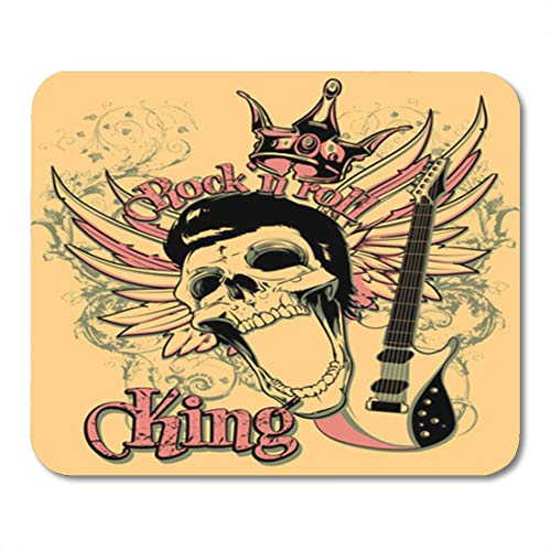 Semtomn Gaming Mouse Pad Skull Rock and Roll King Artistic Star Vintage Acoustics Chord 9.5