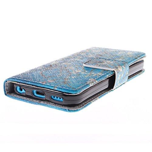 MOONCASE iPhone 5C Case Magnetverschluss Leder Tasche Flip Case Cover Mit Standfunktion Kartenfächer Schutzhülle Etui Hülle Schale für iPhone 5C -TX02