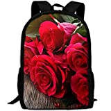 ZQBAAD Red Roses Love Luxury Print Men And Women's Travel Knapsack