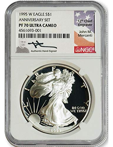 1995 W American Silver Eagle Mercanti Signed $1 NGC PF70