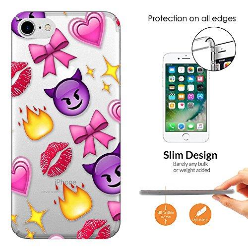 c01058 - Emoji Collage Vampire Kiss Lips Fire Bows Design iphone 6 6S 4.7