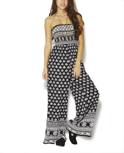 Wet Seal Women's Ethnic Smocked Jumpsuit M Black/ivory