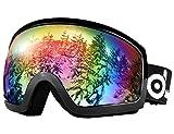 Odoland General OTG Ski Goggles for Adult, Double Anti-Fog Lenses with UV400 Protection