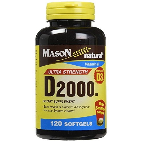 Mason Natural Vitamin D3, 2000 IU, Softgels, 120 ea