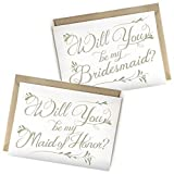 SALE! 5 Pack - Will You Be My Bridesmaid Cards (4), Maid of Honor Card (1) - Assortment Pack of 5 - Includes Kraft Envelopes