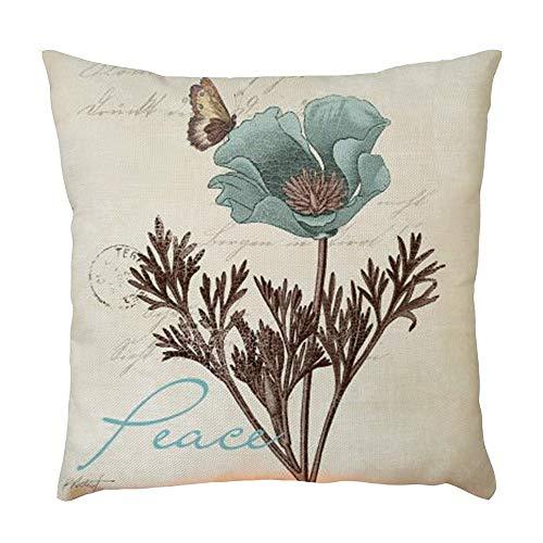 (UROSA Plant Pattern Pillowcase Pillow Case Cushion Cover Sofa Home Car Decor45 45cm)