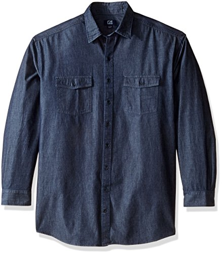 Cutter & Buck Men's Big and Tall Long Sleeve Eqinox Denim Shirt, Dark Indigo Wash, 4XB