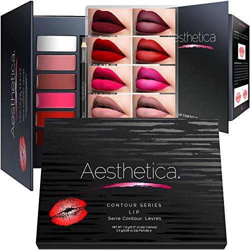 Aesthetica Matte Lip Contour Kit - Lipstick Palette Set Includes 6 Lip Colors, 4 Lip Liners, Lip Brush and...