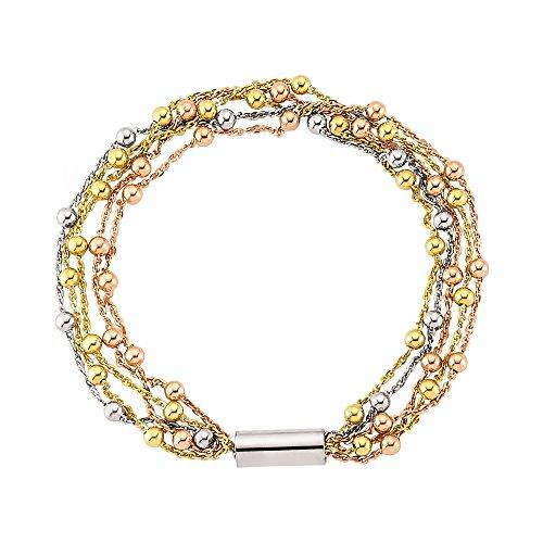 Jewelco Londres 3-couleur argentàplusieurs brins perles bracelet magnétique