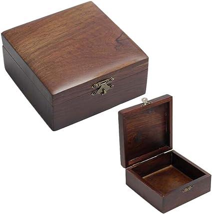 Caja de almacenamiento de joyas de madera retro caja de seguridad sello/caja de pulsera-pequeño cuadrado: Amazon.es: Oficina y papelería