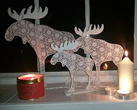 white contemporary rustic metal reindeer christmas decoration for a table window sill fire place - Metal Reindeer Christmas Decorations