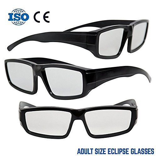 NASA APPROVED Plastic Solar Eclipse Glasses /w Carry Case Adult Size Glasses And Are Also CE and ISO Tested Safe Solar Viewing – 3 Pack (3 Glasses and 3 - Can Used Sunglasses For Eclipse Be
