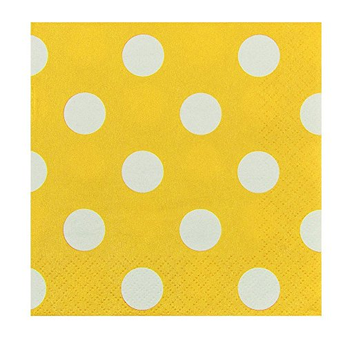 JAM PAPER Small Polka Dot Beverage Napkins - 5 x 5 - Yellow with Polka Dots - 16/Pack -