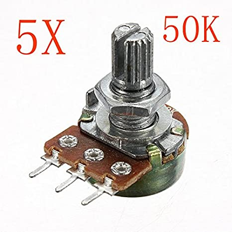 Baosity Pack of 5 50K Ohm Single Linear Rotary Potentiometer 3-pin Terminals