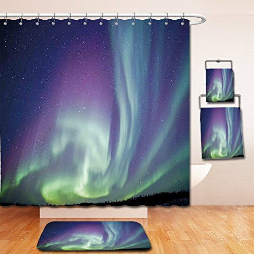Nalahome Bath Suit: Showercurtain Bathrug Bathtowel Handtowel Northern Lights Exquisite Atmosphere Solar Starry Sky Calming Night Image Mint Green Dark Blue Violet by Nalahome