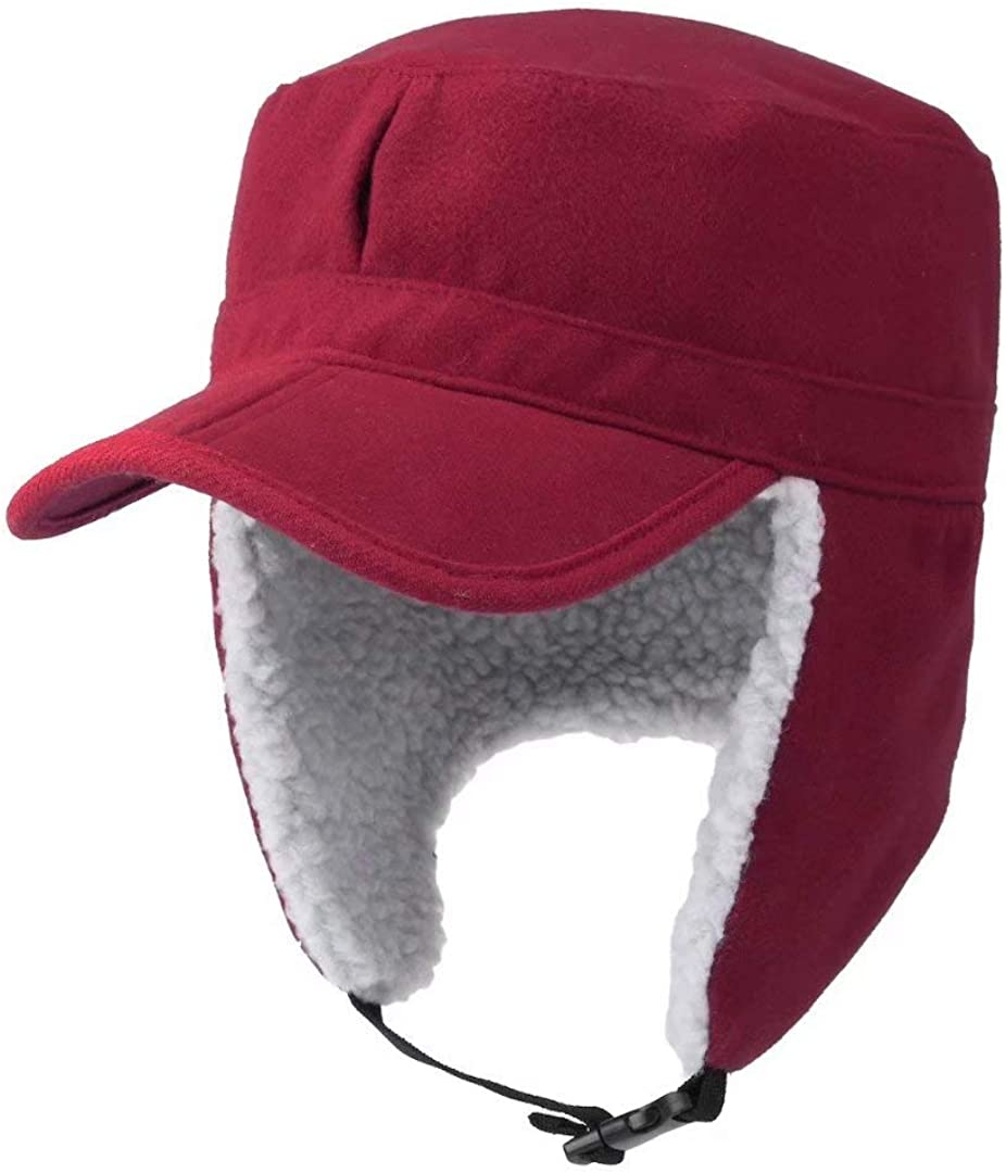 Home Prefer Mens Warm Trapper Hat Earflaps Winter Hat with Visor Military Cap