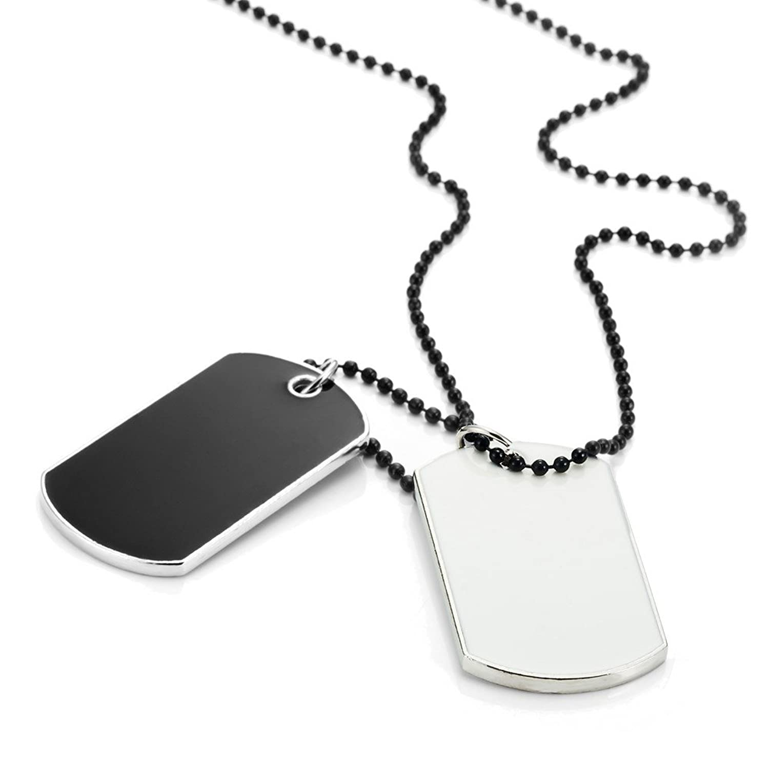 Army style 2pcs dog tag pendant mens necklace chain with branded army style 2pcs dog tag pendant mens necklace chain with branded gift box amazon mozeypictures Gallery