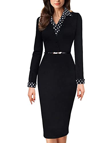 Saslax Women's 3/4 Sleeve Peplum Elegant Vintage Wear To Work Pencil Dress