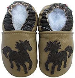 Carozoo baby boy soft sole leather infant toddler kids shoes Horse Tan 7-8y