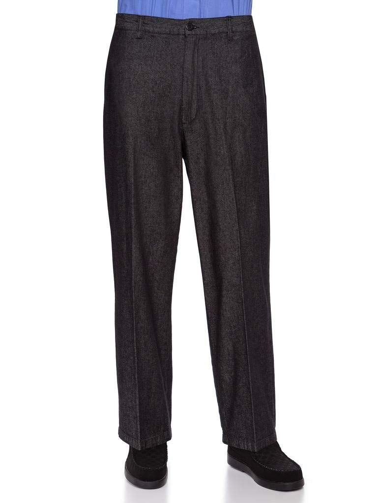 AKA Half Elastic Wrinkle Free Flat Front Men's Slacks – Relaxed Fit Twill Casual Pant Black Denim 36W x 30L