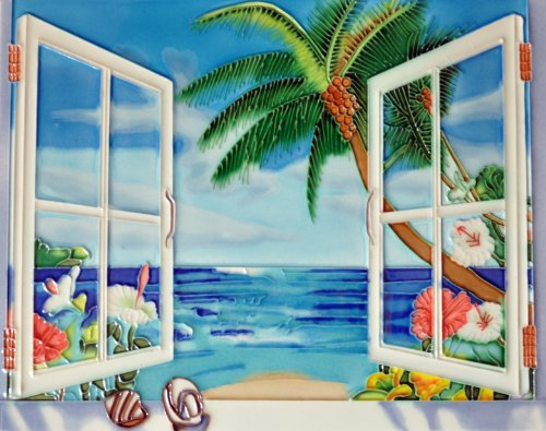Window View Ocean - Decorative Ceramic Art Tile - 11