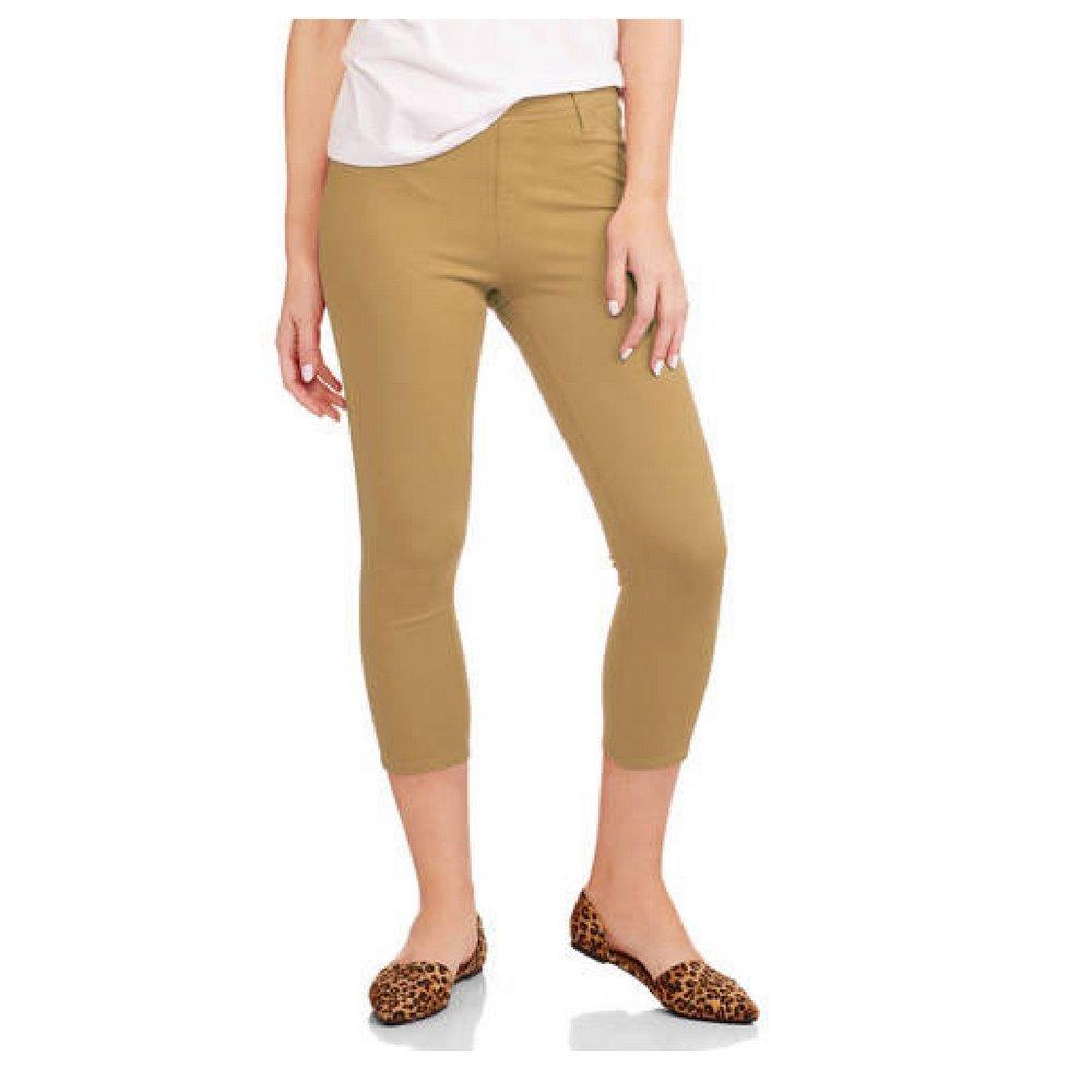 dc385a286c3 Faded Glory Women s Capri Length Stretch Knit Jegging Pants (X-Large ...