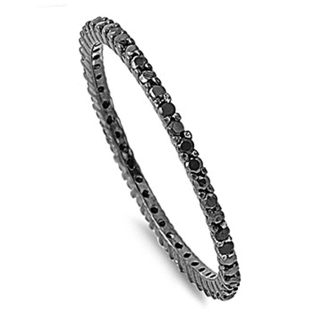 Sterling Silver Black CZ Eternity Band 1.5MM (Size 4 to 10), 9