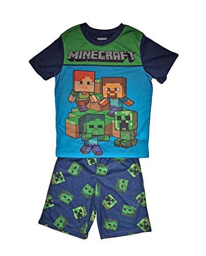 AME Minecraft Steve Creeper Pajama Sleep Wear Set For Boys, Blue, Medium / (Boys Pjs)