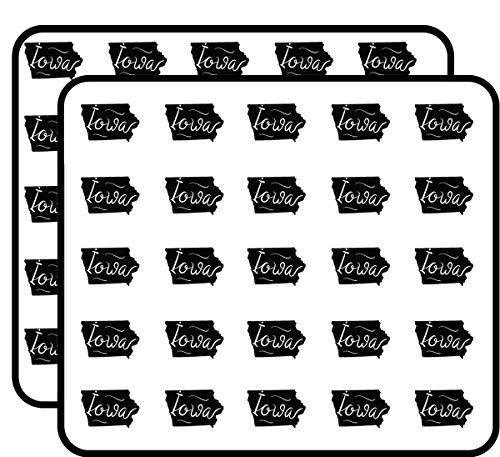 Iowa State Shape Sticker for Scrapbooking, Calendars, Arts, Kids DIY Crafts, Album, Bullet Journals 50 Pack ()