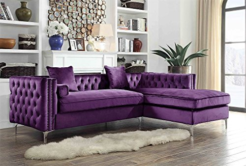 Velvet Modern Contemporary Button Tufted with Silver Nailhead Trim Silvertone Metal Y-Leg Right Facing Sectional Sofa, Purple ()