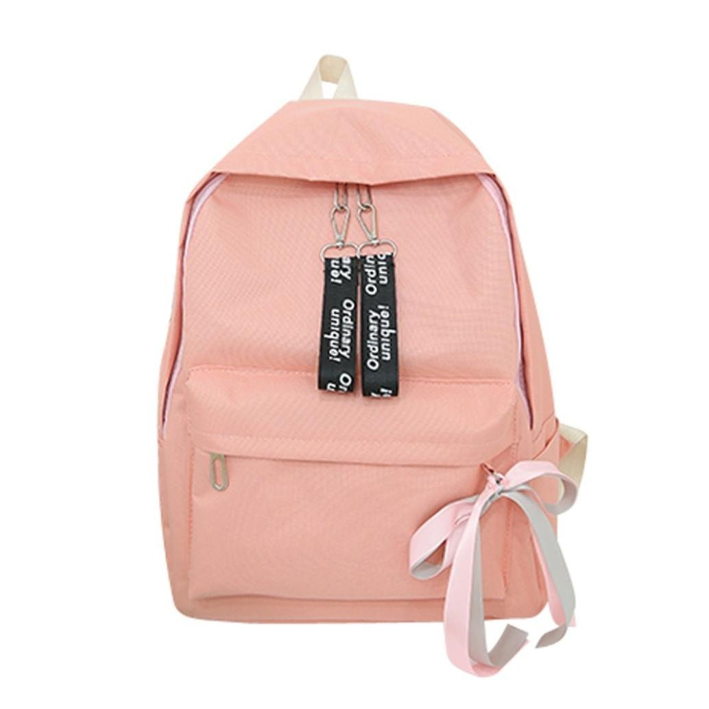 Aobiny Backpack Neutral Canvas Outdoor Travel Student Bag (Pink)