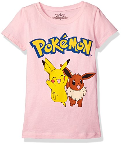 Pokemon Little Girls Short Sleeve Princess Tee, Light Pink, 4