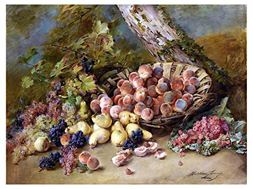 Still life fruits peach pear grapes raspberry by Madeleine Lemaire Accent Tile Mural Kitchen Bathroom Wall Backsplash Behind Stove Range Sink Splashback One Tile 8