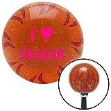 American Shifter 253857 Orange Flame Metal Flake Shift Knob with M16 x 1.5 Insert (Pink I <3 JAGUAR)