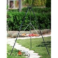 Schwenkgrill CookKing Edelstahl XXL schwarz Garten ✔ rund dreieckig ✔ schwenkbar ✔ Grillen mit Holzkohle ✔ mit Dreibeinen