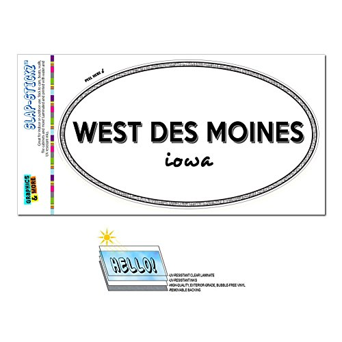 Graphics and More Euro Oval Window Bumper Glossy Laminated Sticker Iowa IA City State Maq - Win - West Des (City Of West Des Moines)