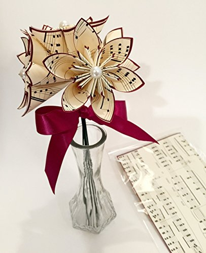 5 Custom Paper Flowers- Vase & Card Included, You choose type of paper & accent colors,one of a kind origami, dark red daisy, 1st anniversary gift (Color Custom Accent)