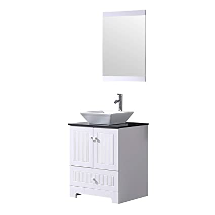 . Sliverylake 24  Bathroom Vanity and Sink Combo  Ceramic Vessel Countertop  Bowl Cabinet w Mirror Set Vanities for Bathrooms White Trapeziform