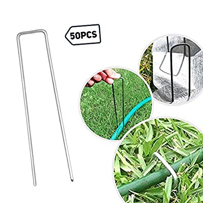 Petgrow 6 Inch Garden Stakes Galvanized Landscape Staples,U-Type Turf Staples for Artificial Grass, Rust Proof Sod Pins Stakes for Securing Fences Weed Barrier, Outdoor Wires Cords Tents Tarps