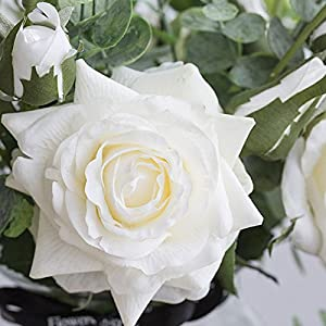 Ins Style Vase with Artificial Flower Set 1 Piece Fake Rose Berry Leaf Floral Flower Arrangement Glass Rose (White S) 3