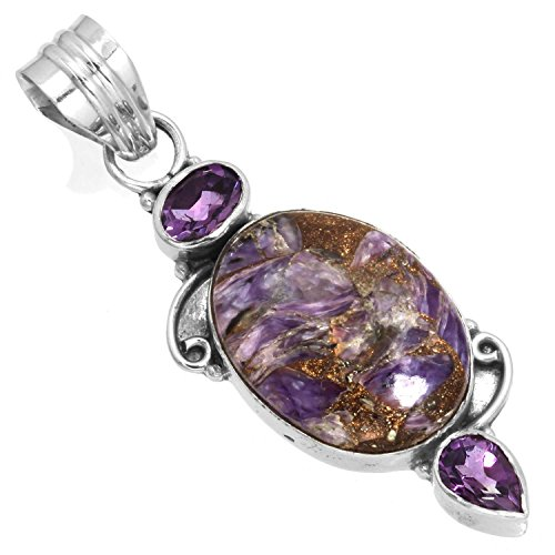 Solid 925 Sterling Silver Stylish Jewelry Natural Copper Charoite Gemstone -