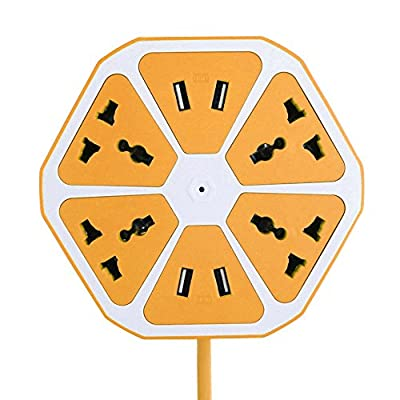Premium Power Strip Socket 4-slot Universal Plugs Surge Protector w/ 4-USB Charging Ports in Orange