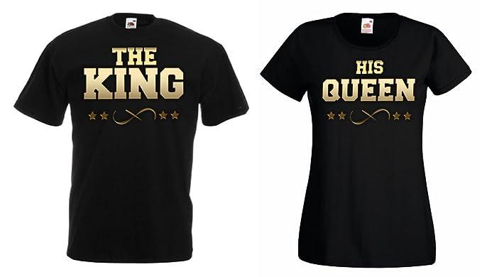 TRVPPY Pareja 2X Camiseta T-Shirt/Modelo The King & His Queen/para Hombre & Mujer/en Muchos Colores Diferentes: Amazon.es: Ropa y accesorios